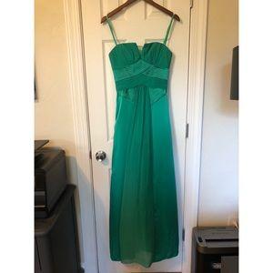 BCBGMaxAzria Emerald Green Strapless Gown